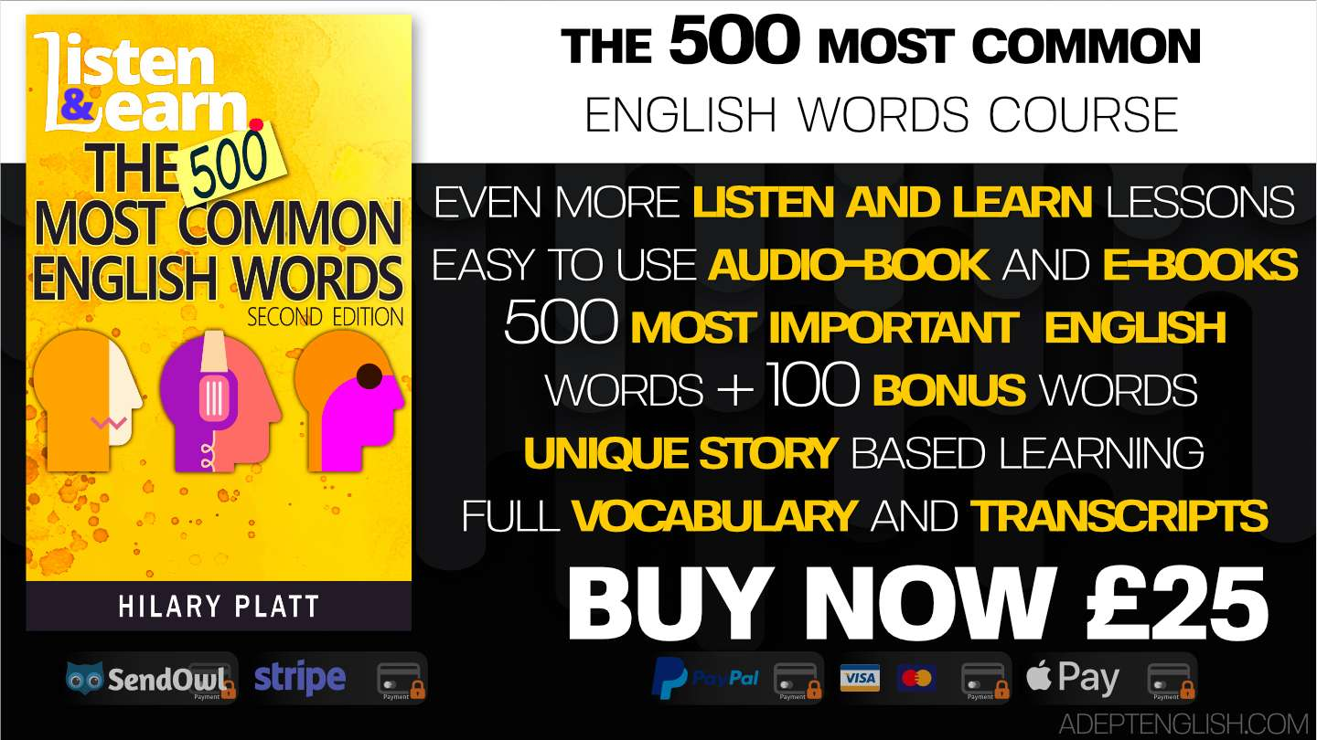 Learn to speak English course 500 most common words product cover art.
