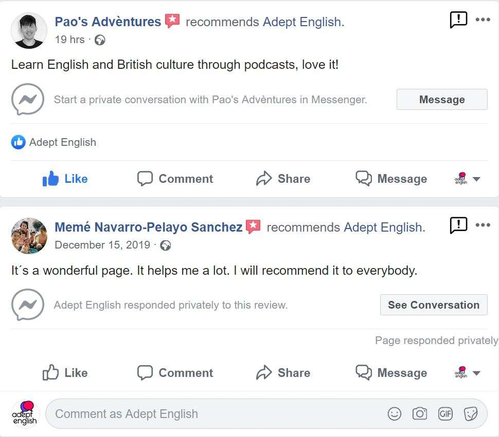 Screen shots of Adept English page reviews from people who are happy with our language courses.