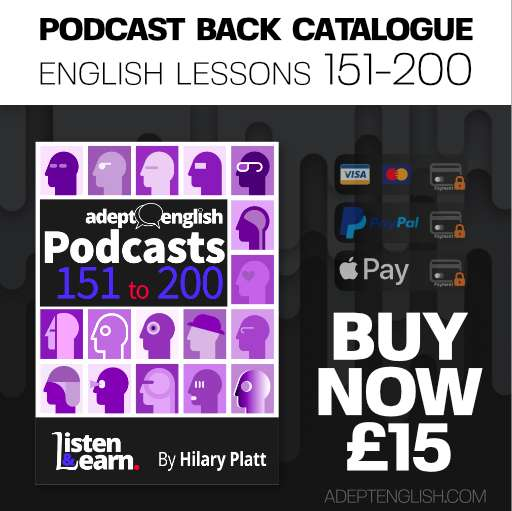 Learn to speak English audio lessons, episodes 151 to 200 back catalogue, bundle cover art.