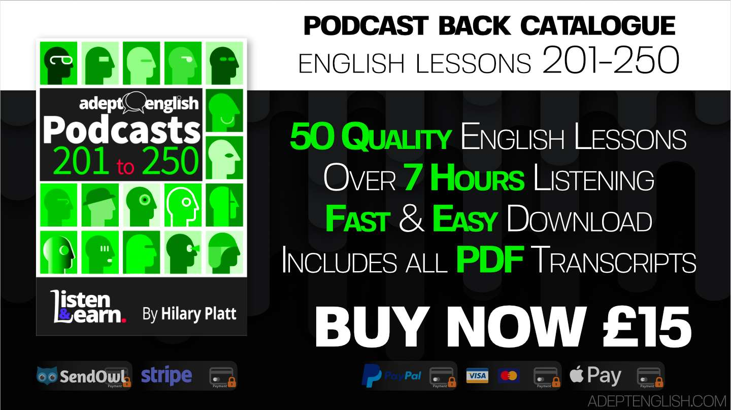 Learn to speak English audio lessons, episodes 201 to 250 back catalogue, bundle cover art.