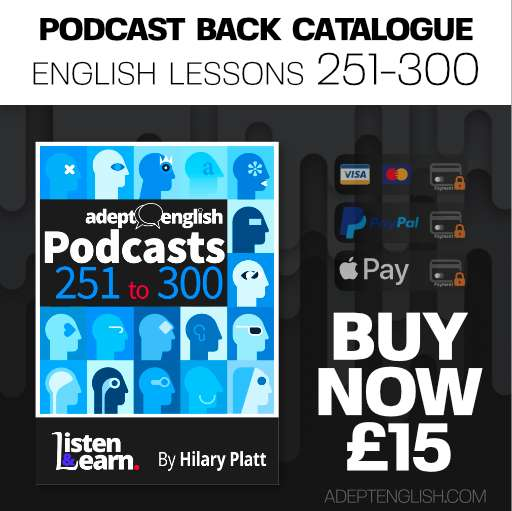 Learn to speak English audio lessons, episodes 251 to 300 back catalogue, bundle cover art.