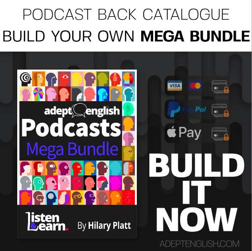 Learn to speak English audio lessons back catalogue bundle cover art.