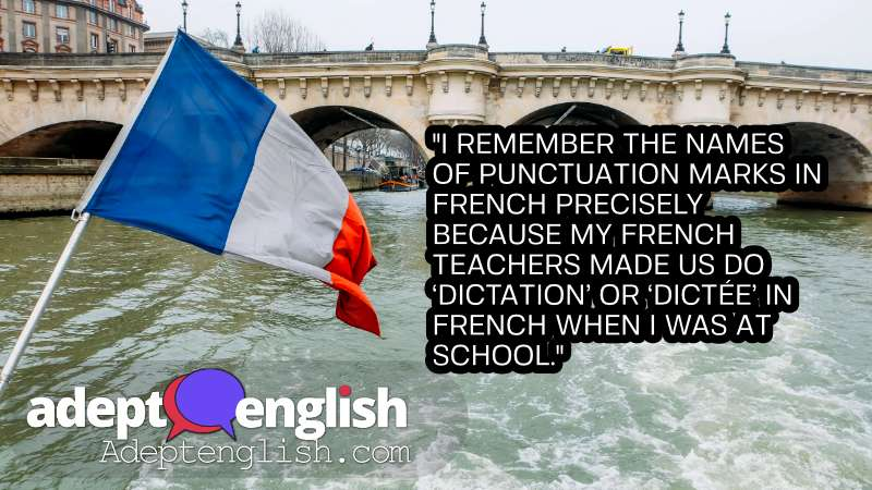 French Flag on the river seine in Paris, France. An English language podcast all about English punctuation.
