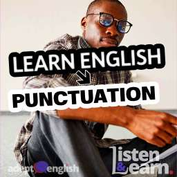 A photograph of a man reading a document. We learn English punctuation, in this English lesson.