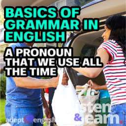 A photograph of a couple fetching the weekly shopping in large bags from the boot of their car. Used in explaining the use of pronouns and the basics of grammar in English.