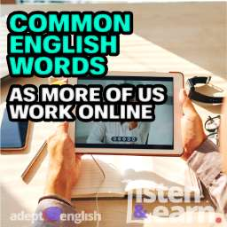 A photograph of people communicating online, used to help highlight the challenges for new English language learners.