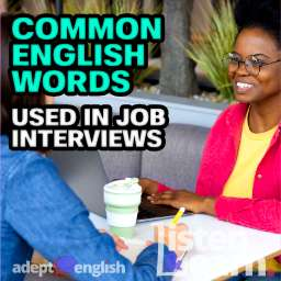 A photograph of a young and pretty African American woman in an informal interview. A podcast English lesson on phrases and words used in interviews.
