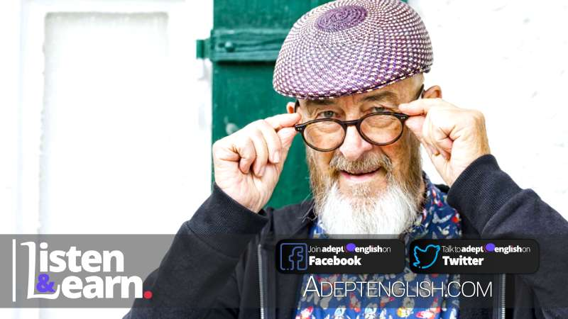 A photograph of an old man and his glasses. With age comes wisdom and silliness in equal measure. In this English lesson to practice English conversation comprehension.