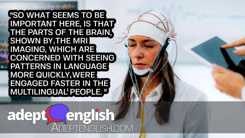 A photograph of a young lady undertaking a brainwave EEG. The more languages you learn the less effort is needed.