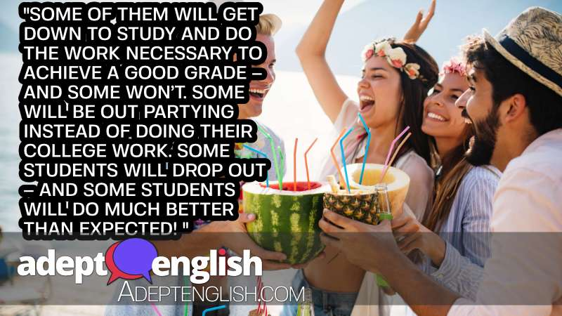 A photograph of a students partying instead of studying.