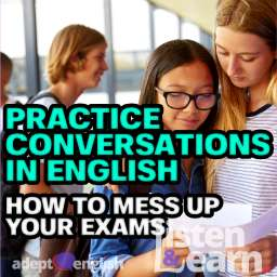 A photograph of A level students getting their results, part of this practice conversation in English lesson.