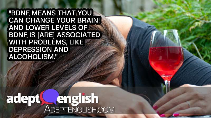 A photograph of a drunk middle-age housewife drinking during day. An English conversation about your brain.