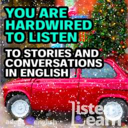 A photo of a toy red car in snow. This whole English practice conversation is about a very long and difficult car journey.