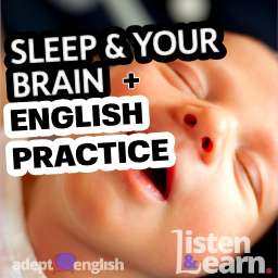 A close up photograph of a cute baby sleeping. A listening practice conversation in English about the importance of sleep.