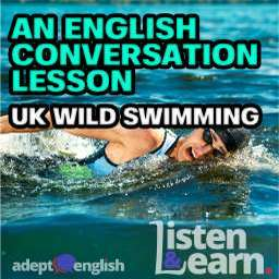 A photograph of a man swimming in the sea used to highlight the popularity of wild swimming in the UK. This English conversation lessons topic was wild swimming.