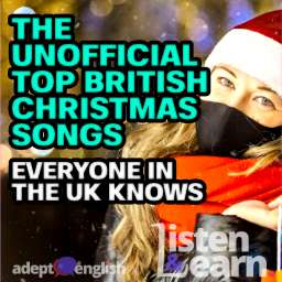 A woman in a black protective medical mask in a Santa hat at the window of a city shop with purchases in multi-coloured paper bags. English Christmas songs.