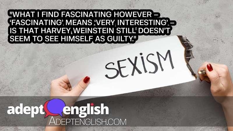 A picture of a woman setting a paper message, with the words sexism on it, on fire.