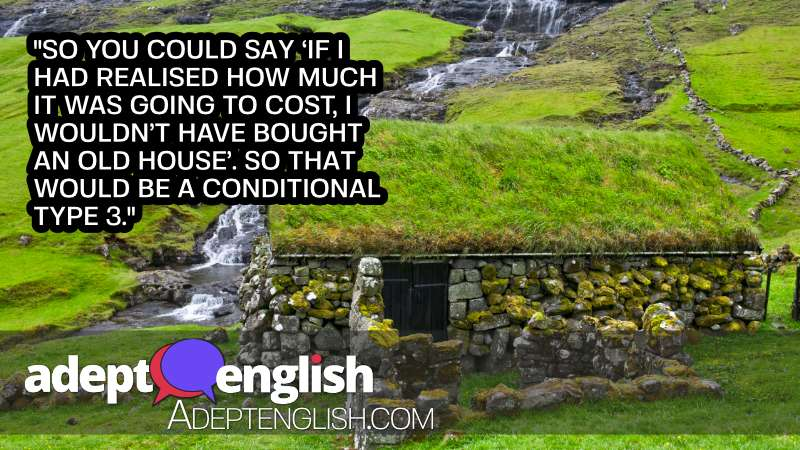 A photograph of a old stone house in Faroe Islands. Used to help explain English grammar conditional verbs.