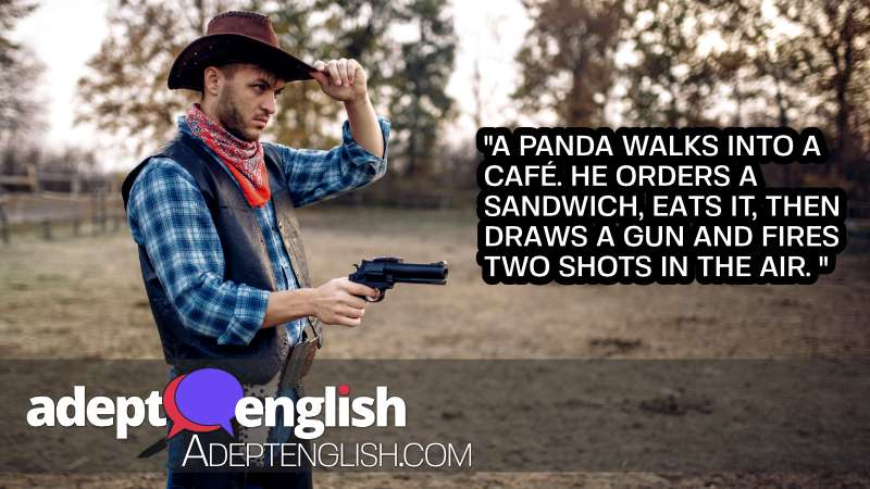 A photograph of a man dressed as a cowboy holding a gun. When we hear the word shoots we probably think more about guns than bamboo.