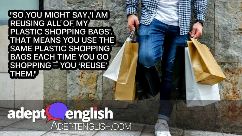A photograph of a young man with shopping bags. An example of the English prefix re in this case someone reusing shopping bags.