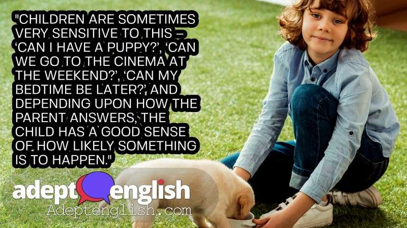 A photograph of a boy feeding his Labrador puppy on grass. English grammar - Using English adverbs for probability.