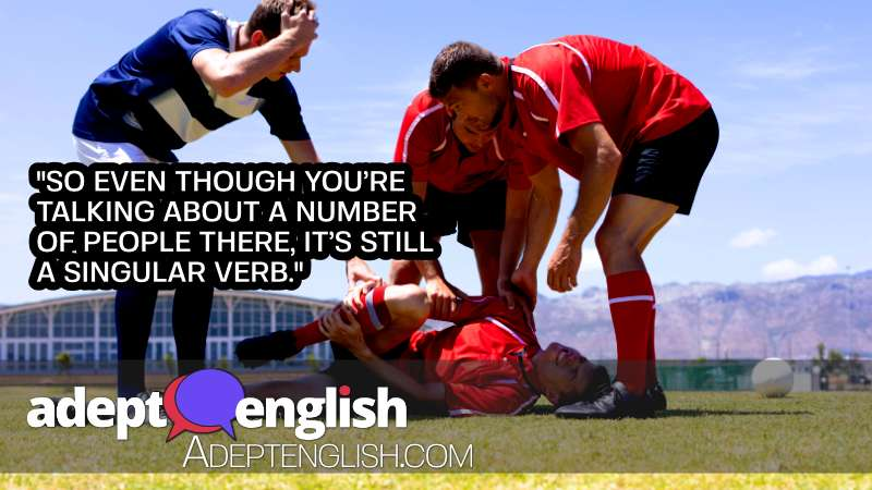 A photograph of a man injured from playing a team sport. Used to help explain English grammar subject verb agreement.