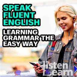 A young woman listening to the Adept English podcast in an urban background. Learning English grammar the easy way.