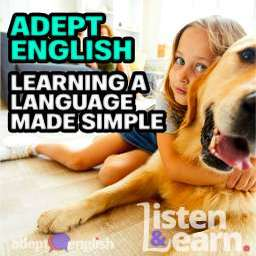 A young girl laying on the floor hugging a rescued golden retriever dog, used to help explain the role of the RSPCA while learning to speak English fluently.