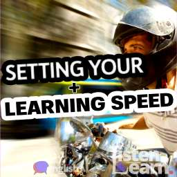 A photograph of a man riding a scooter at speed on the road with blurred background. Learn how to set your own speed using our English lessons.