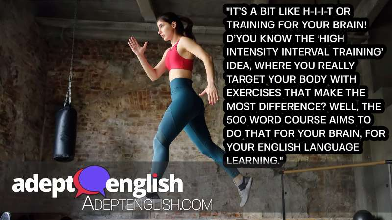 A photograph of a sporty woman during HIIT workout. The 500 most common English words course is HIIT for your brain!