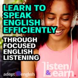 A photograph of a female student listening to an audio book on her headphones. You could be improving your spoken English by listening to our new updated 500 most common English words audio book course.
