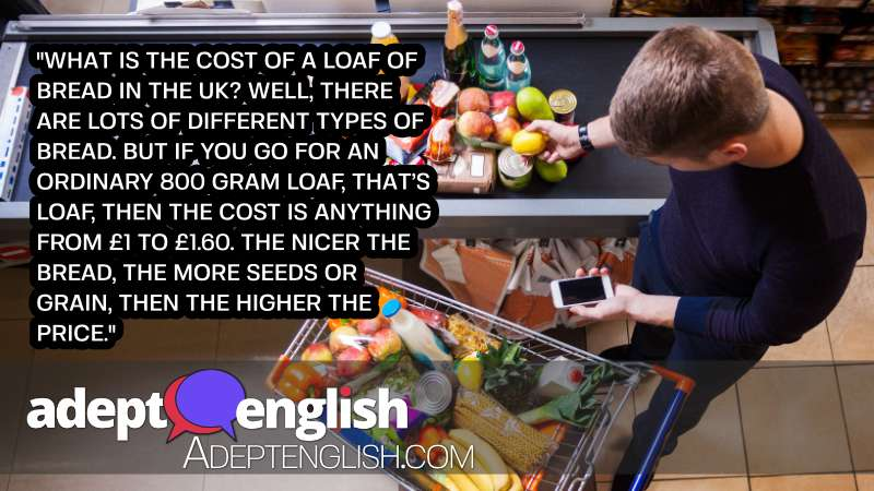 A photograph of a young man putting goods on counter to pay in a supermarket. What things in the UK cost in today's English listening mp3 lesson.