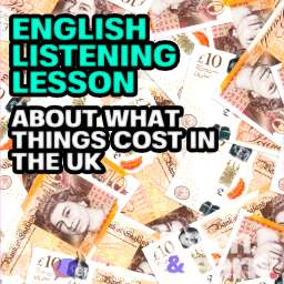 A photograph of British 10 pound notes in a big pile. This English listening mp3 lesson is all about what things cost in the UK.