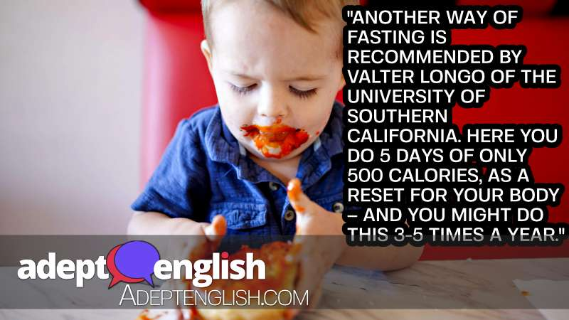 A photograph of a boy eating a sugary donut which will have far more than 500 calories. Our English listening practice is on intermittent fasting today.