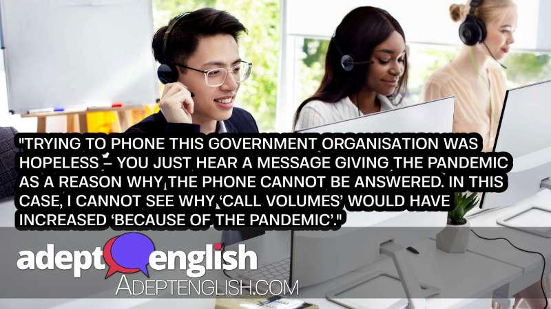 A photograph of a team of helpline operators with headsets consulting clients at call center. A rant or an opinion in today's English listening practice.