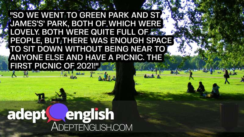 A photograph of Londoners enjoying Hyde Park in London. In todays English lesson we discuss London being open for business again the parks are full on sunny days.