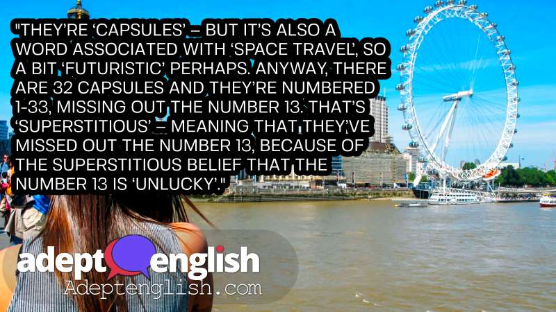 A photograph of a the London Eye. English Listening Practice Podcast.