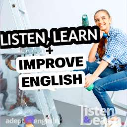 A photo of a female house painter sitting on a ladder. Online English Listening Practice – Free Podcast