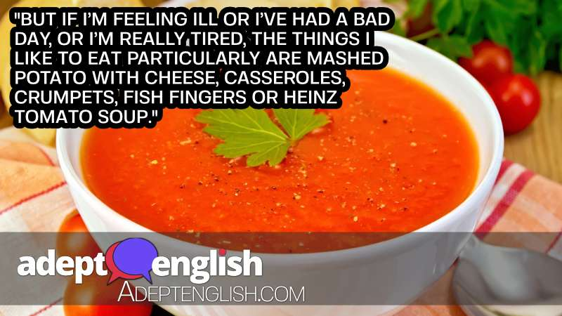 A photograph of a bowl of tomato soup, perfect comfort food on a cold British day.