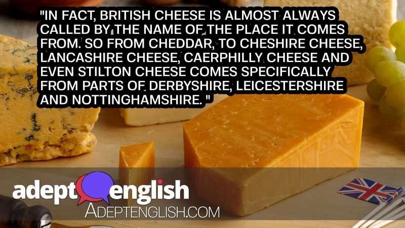 A photograph of British cheeses, like many countries Britain makes unique foods.