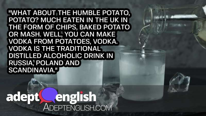 A photograph of a bottle with pouring vodka and shots of vodka on black tray. As we discover English phrases related to alcohol.