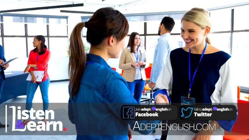 A photograph of businesswomen working in a bright modern office, standing, talking, smiling and shaking hands. English phrases and questions you might encounter in an English language interview.