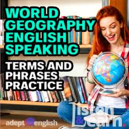 A teenager holding a world globe. English speaking geography practice in todays English podcast lesson.