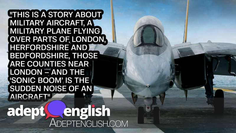 A photograph of a military jet on an aircraft carrier, helping to explain a UK news article about sonic booms.