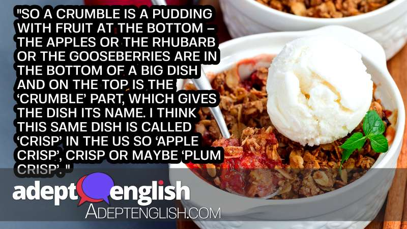 A photograph of a plum crumble pie or plum crisp with oats and spices, served with ice cream. The American version of a British Crumble pudding.