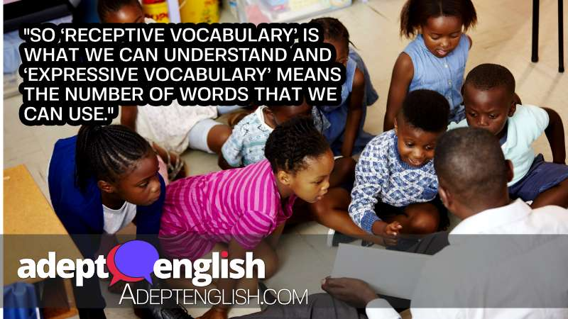 A photograph of a teacher reading and young students listening. In This English listening topic we explain the difference between expressive and receptive vocabulary.