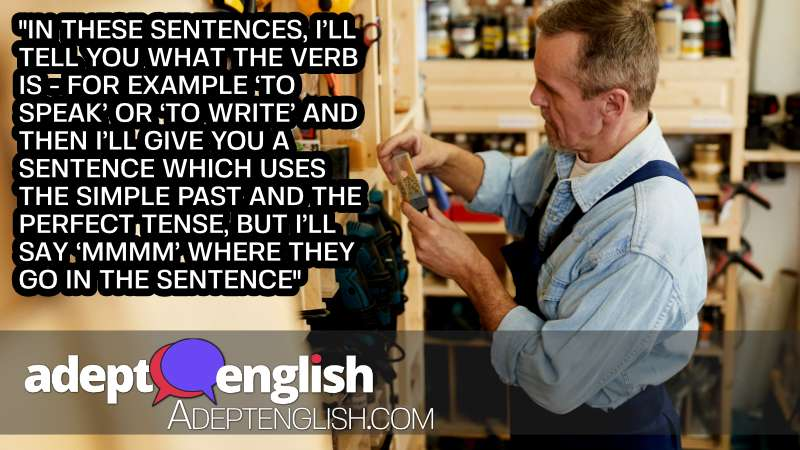 A photograph of a man working as a wookd bench. English verbs, and the correct tense in today's English lesson.