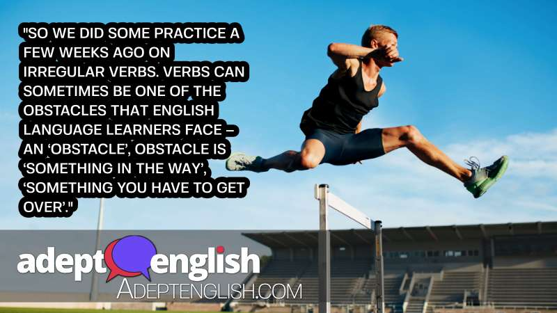 A photograph of a professional sprinter jumping over a hurdle. We help you jump over English language hurdles in this English speaking practice topic.