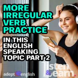 Photo of smiling woman using headphones and smartphone. Practice copying what I say in this English speaking topic.