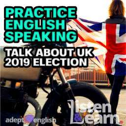 Biker girl on caferacer motorcycle holding UK Union Jack flag used to help describe the UK 2019 election as part of an English speaking practice lesson.